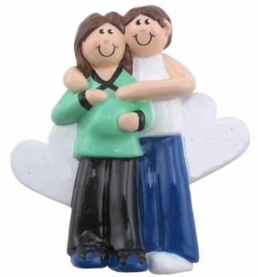 Pregnancy Christmas Ornament Gifts – Pregnant Lady Woman Couple (Pregnant Couple Brown)