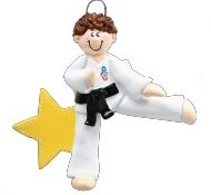 8273 Karate Boy Brown Hand Personalized Christmas Ornament by Rudolph and Me