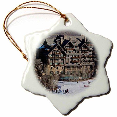 3dRose USA, Colorado, Beaver Creek, Ritz Carlton Hotel – Us06 Wbi0050 – Walter Bibikow – Snowflake Ornament, Porcelain, 3-Inch (orn_143218_1)