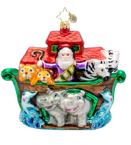 Christopher Radko Two By Two Noah's Ark Glass Christmas Ornament 5″w. New for 2014