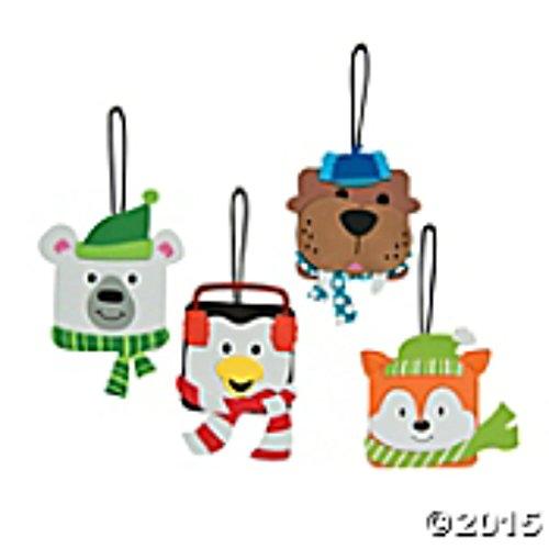 Foam Penguin Polar Bear Winter Animal Christmas Ornament Craft Kit for Kids-makes 12