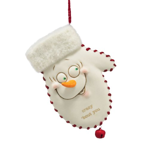 Department 56 Snow Pinions Crazy Bout You Mitten Ornament, 4.5-Inch