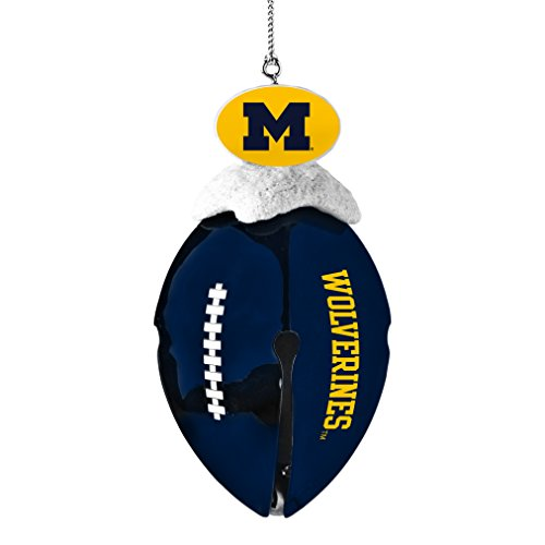 NCAA Michigan Wolverines Metal Football Bell Ornament, 2″, White