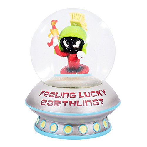 Looney Tunes Marvin the Martian Feeling Lucky Earthling Water Globe Makes Ray Gun Blaster and Alien Sounds