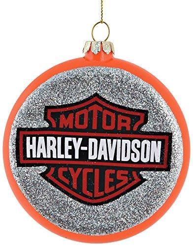 Department 56 Harley Davidson Logo Disc Ornament, Orange