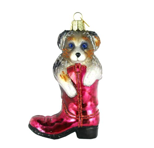 Old World Christmas Puppy In Boot Ornament