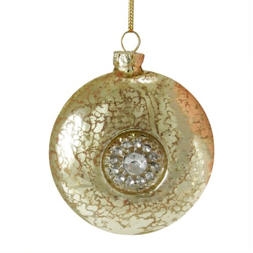 3.5″ Silent Luxury Gold with Gem Snowflake Medallion Glass Disc Christmas Ornament