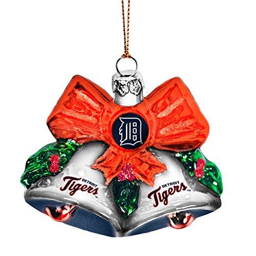MLB Detroit Tigers Glitter Bells Ornament, Green, 3″ x 3″