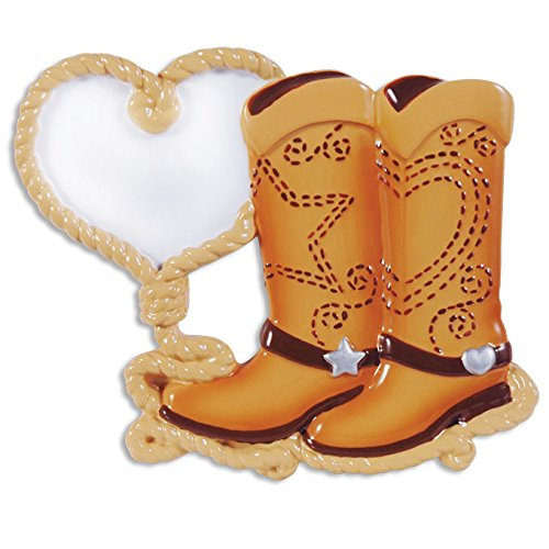 Cowboy Boot Couple Personalized Christmas Tree Ornament