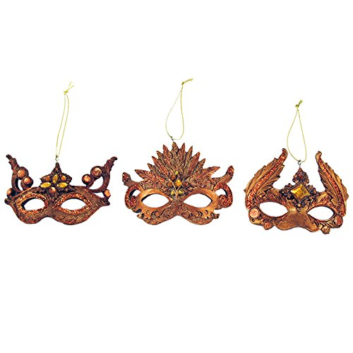 Gold Mask Ornament Set of 3