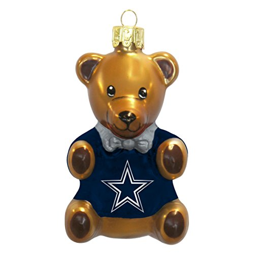 NFL Dallas Cowboys Blown Glass Teddy Bear Collectible Ornament