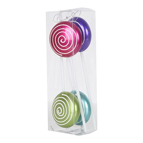 Vickerman 377147 – 10″ Purple / Cerise / Lime / Teal Candy Glitter Swirl – Lollipop – Christmas Tree Ornament (4 pack) (M152305)