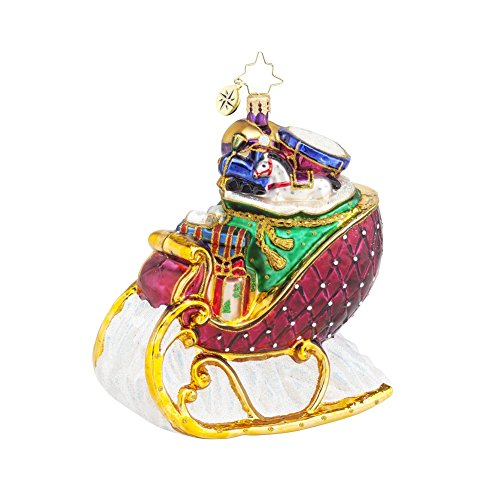 Christopher Radko Ruby Sleighride Glass Christmas Ornament – 4.5″h.