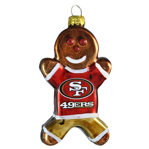 NFL San Francisco 49ers Blown Glass Gingerbread Man Ornament
