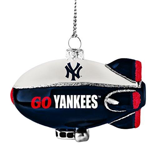 MLB New York Yankees Glitter Blimp Ornament, Silver, 3″ x 2.25″