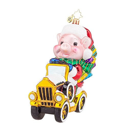 Christopher Radko Glass Pork Chop's Wild Ride Pig Christmas Ornament #1017941