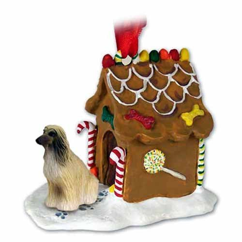 NEW Afghan Hound Brown & Tan Ginger Bread House Christmas Ornament by Conversation Concepts
