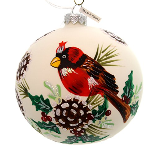 Christina's World CARDINALS & PINE CONES Glass Ornament Ball Red Bird Art250