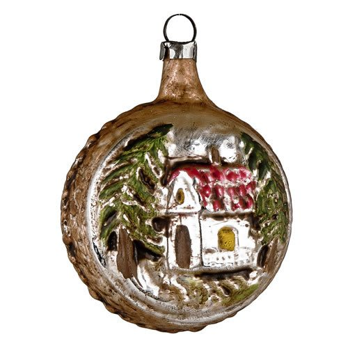 "Vintage mouthblown Christmas Glass ornament ""Ball with House"", brown by MAROLIN® Germany"