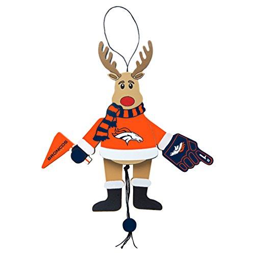 NFL Denver Broncos Wooden Cheer Ornament, Brown, 5.25″