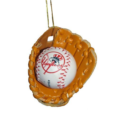New York Yankees Baseball in Glove Ornament by Kurt Adler