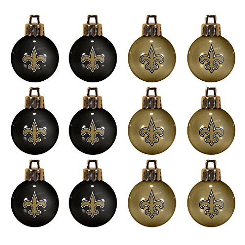 NFL New Orleans Saints 12-Pack Mini Ball Ornaments made of Durable Plastic, Miniature, Black