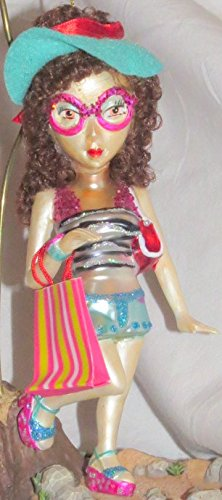 "December Diamonds Girly Girls Blown Glass Woman with Brown Curly Long ""Real"" Hair & Oversized Pink Sunglasses Going to the Beach Ornament.Turquoise Fabric Sun Hat, Beach Bag, & Pink Platform Sandals."