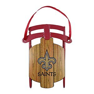 NFL New Orleans Saints Metal Sled Ornament, 3.5″ Long, Brown