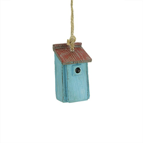 2.5″ Rustic French Blue and Red Birdhouse Christmas Ornament
