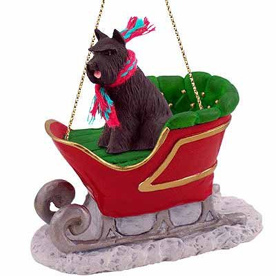 Black Schnauzer Dog in Sleigh Christmas Ornament New