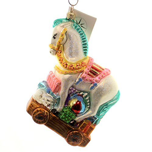 Christopher Radko ROCK AND ROLL Glass Ornament Horse Pull Toy