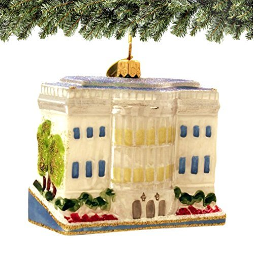 U.S. White House Christmas Bus Ornament: Hand Blown Glass From Poland- Beautiful Gift Box! by Landmark Creations