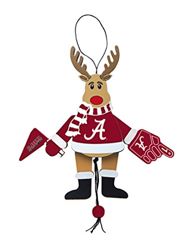 NCAA Alabama Crimson Tide Wooden Cheer Ornament, Brown, 5.25″