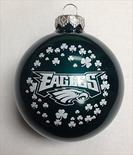 Philadelphia Eagles NFL Glass Irish Christmas Ornament 2 5/8″