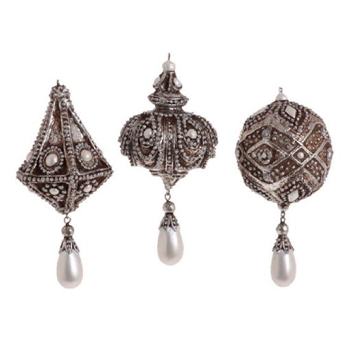 RAZ Imports – Diamond and Pearl Ball and Finial Ornaments