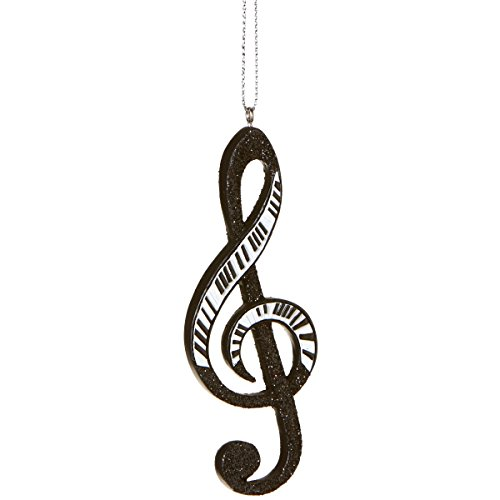 Glamour Time Black and White Glittered Piano Treble Clef Musical Note Christmas Ornament 4.25″