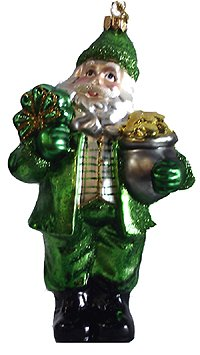 Noble Gems Irish Leprechaun Santa Claus Shiny Glass Christmas Ornament #W20193