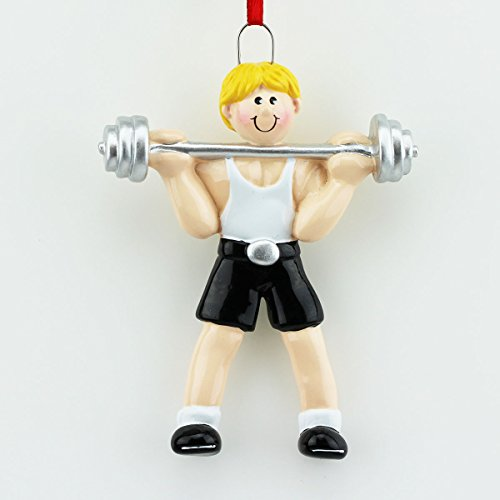 Weight Lifter Male Blonde Hair Personalized Ornament