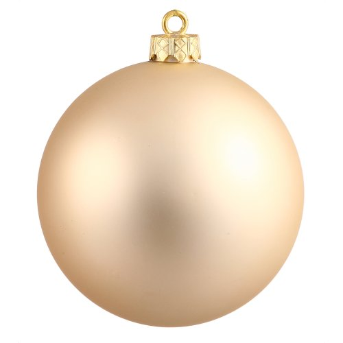 Vickerman Drilled UV Matte Ball Ornaments, 4-Inch, Champagne, 6-Pack