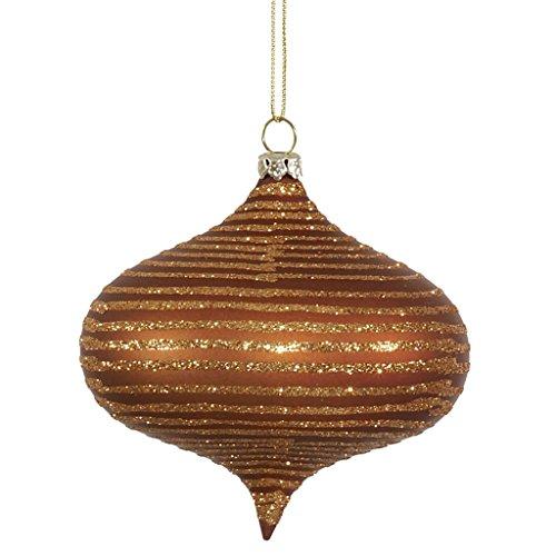 Vickerman 337219 – 4″ Copper Matte Glitter Onion Christmas Tree Ornament (M113528)
