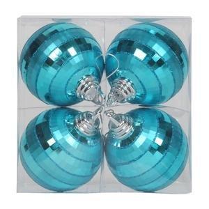 Vickerman 376614 – 4″ Teal Shiny Matte Glitter Mirror Ball Christmas Tree Ornament (4 pack) (M151412)