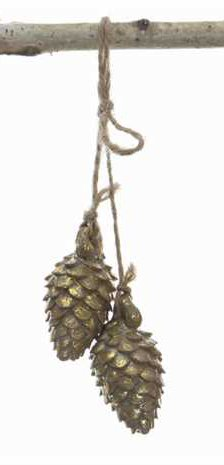 Gold Pinecone Cluster Hanging Christmas Tree Ornament