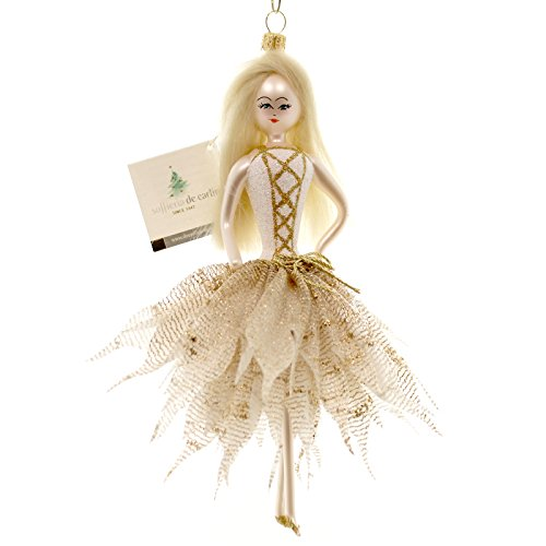 De Carlini Lady in Gold Dress Glass Ornament Itailin DO7438