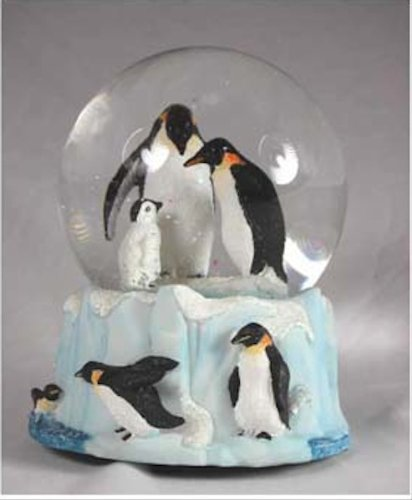 Penguin Family Musical Snow Globe – It's a Small World