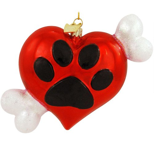 NOBLE GEMS GLASS HEART W/PAWPRINT & DOG BONE ORNAMENT