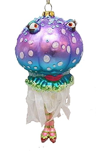 December Diamonds Blown Glass Ornament – Blue and Purple Jelly Fish