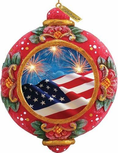 G. Debrekht Patriotic Fireworks Scenic Ornament, 3.5″