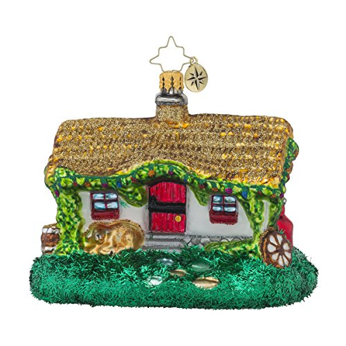 Christopher Radko Irish Getaway Cottage Travel Themed Glass Christmas Ornament – 4.5″w.