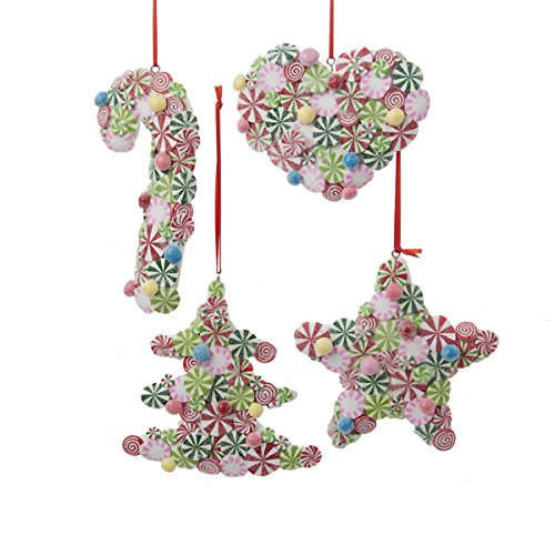 Kurt Adler 3.9″ Candy Tree, Heart, Star & Candy Cane Ornaments 4/asstd