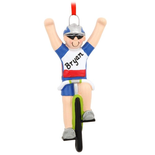 Personalized Boy On Bicycle Ornament